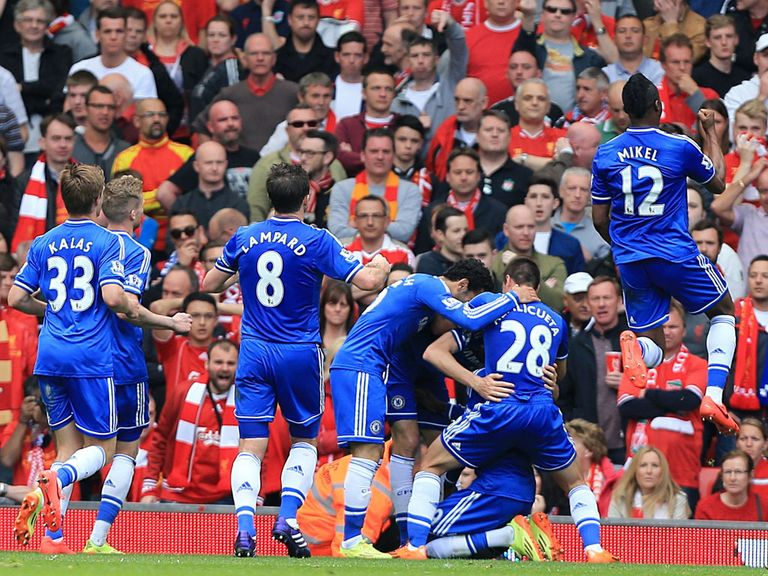 Demba Ba is mobbed after scoring Chelsea's opening goal