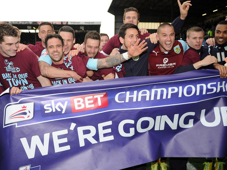Burnley celebrate their promotion to the Premier League