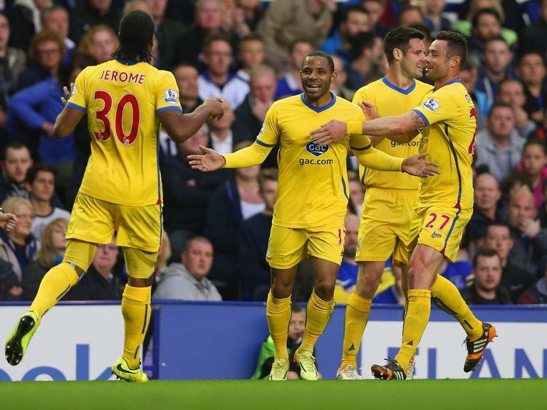 Jose Campana (second right) celebrates with his former Crystal Palace team mates.