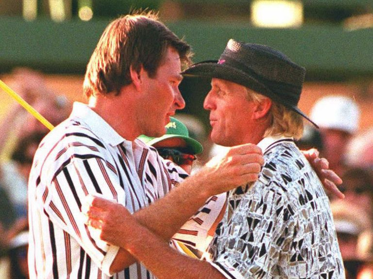 Nick Faldo and Greg Norman embrace at Augusta