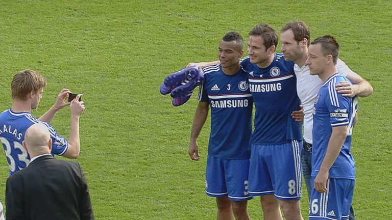 Future unclear: Cole, Lampard, Cech and Terry have their picture taken by Tomas Kalas