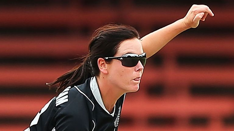 Erin Bermingham bowling for New Zealand