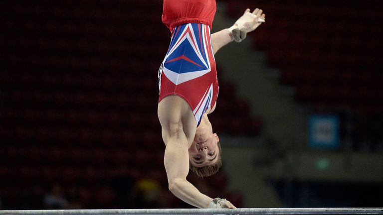 Sky Sports Scholar Sam Oldham competes on the horizontal bar in the Men's team artistic gymnastics final