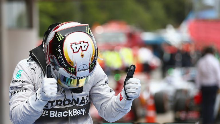 Lewis Hamilton: Thumbs up in Spain