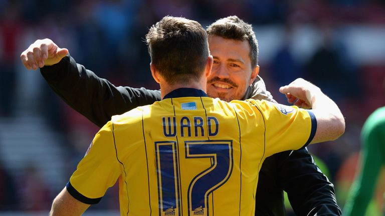 Oscar Garcia: Celebrates with Stephen Ward on Saturday