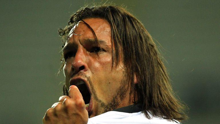 Parma's Amauri Carvalho De Oliveira celebrates