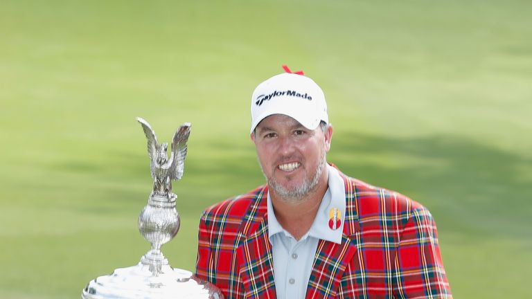 Boo Weekley poses with the trophy after his one-stroke win last year