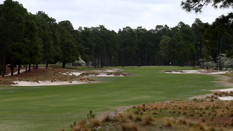 A general view of the 14th hole showing the rustic look of the course and lack of thick rough.