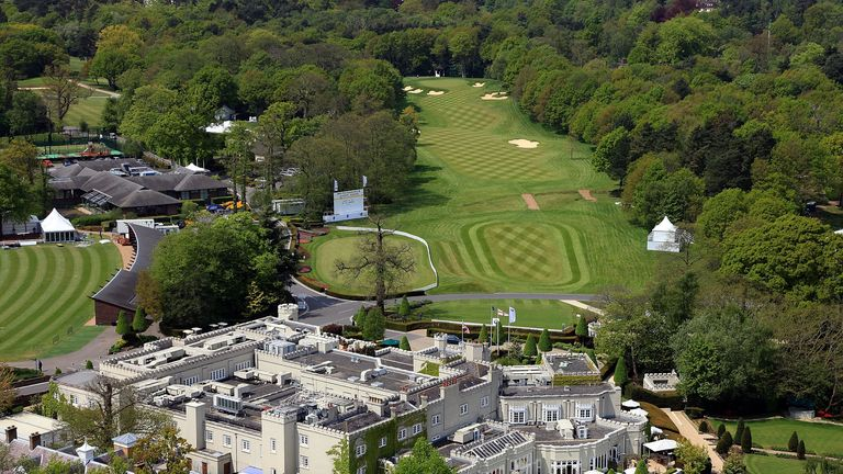 Aerial view of the clubhouse complex at Wentworth