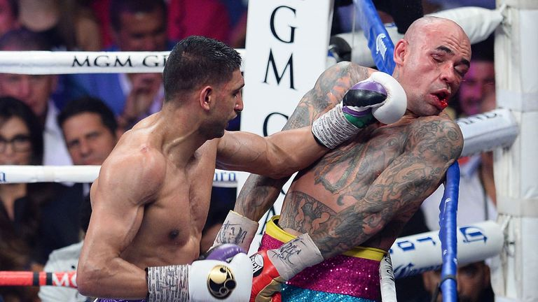Amir Khan catches Luis Collazo on the way to a one-sided points victory