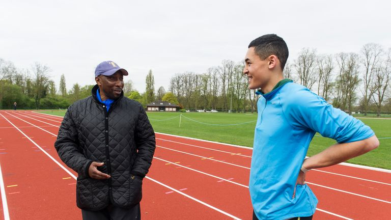 Former Scholar and athlete Louis Persent in training with Tony Lester
