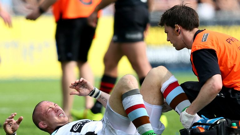 Mike Brown: Limped off the field during Harlequins' semi-final defeat