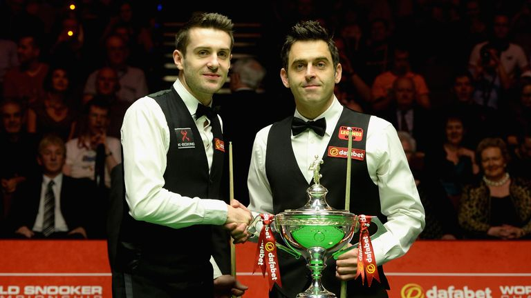 Mark Selby and Ronnie O'Sullivan shake hands ahead of the final at the Crucible