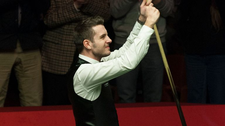 Mark Selby celebrates his 17-15 semi-final victory over Neil Robertson