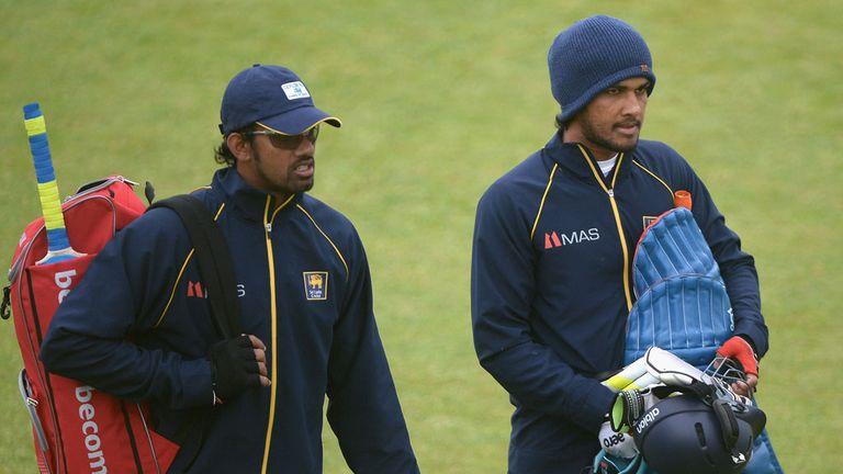 Suranga Lakmal and Sachithra Senanayake prepare for training ahead of the second ODI