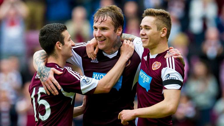 Ryan Stevenson: Celebrates his second goal in Hearts romp against Kilmarnock