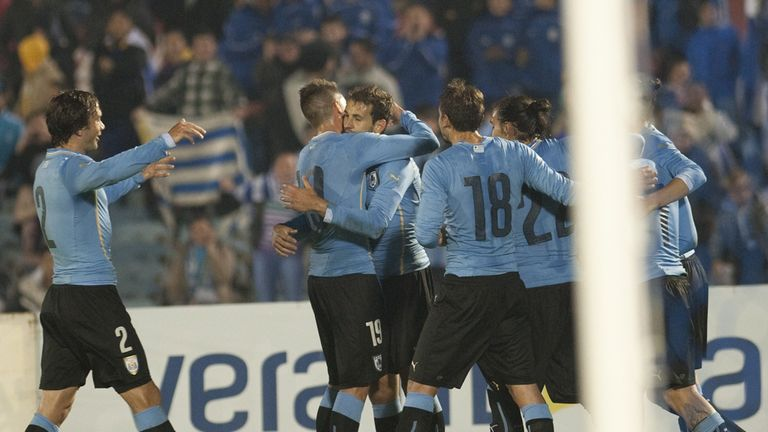 Christian Stuani: Celebrates his winning goal for Uruguay