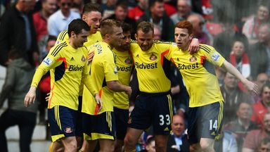 Seb Larsson: Sunderland midfielder is congratulated after scoring at Manchester United