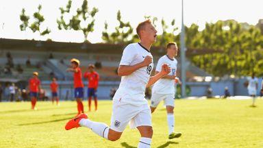 Cauley Woodrow: Celebrates scoring for England U20s