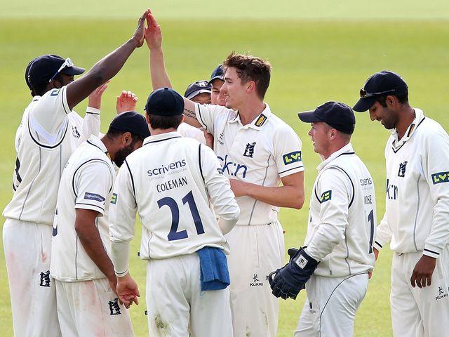 Richard Jones celebrates the wicket of Joe Denly
