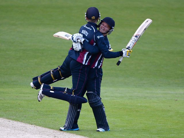 Graeme White and Ben Duckett of Northamptonshire celebrate their win