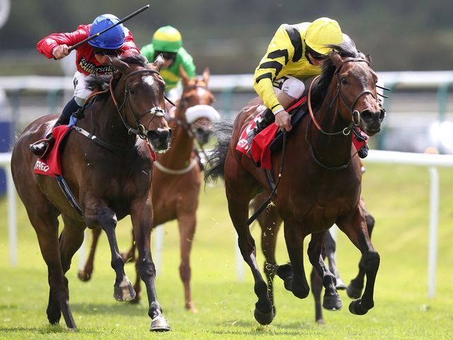 Honor Bound (right) ridden by Joe Fanning edged out Criteria