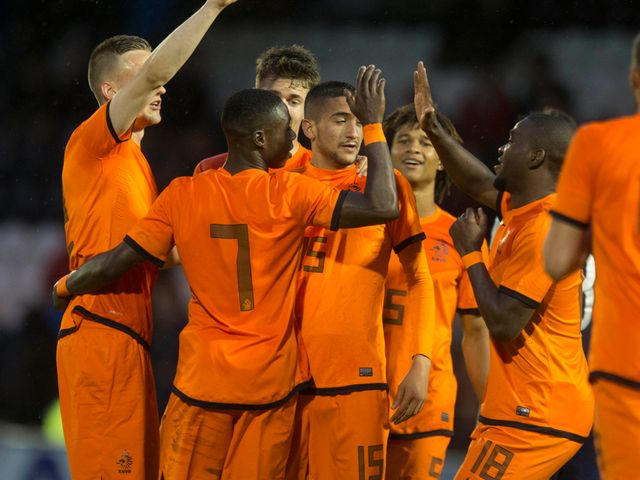 Holland celebrate during their victory over Scotland
