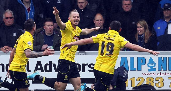 Adam McGurk: Celebrates the decisive goal for Burton