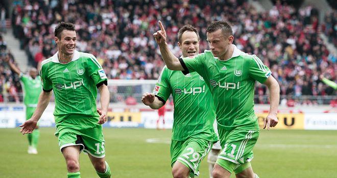 Ivica Olic celebrates his vital goal