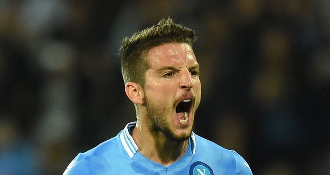 Dries Mertens of Napoli celebrates after scoring