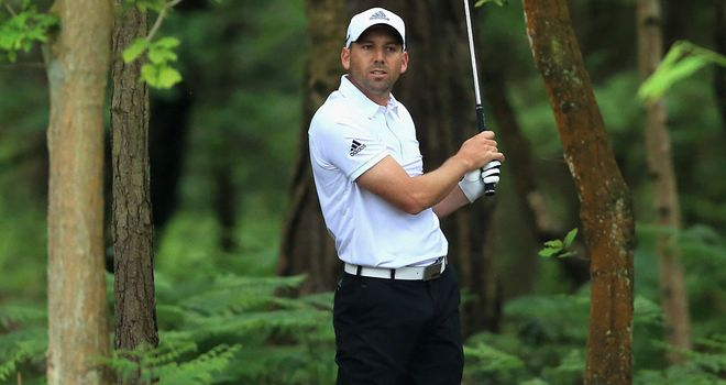 Sergio Garcia in trouble at the 12th hole during his one and only round at Wentworth this week
