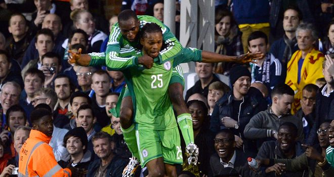 Michael Uchebo: Celebrates scoring in Nigeria's draw with Scotland