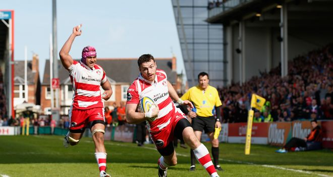 Shane Monahan scores the winning try for Gloucester