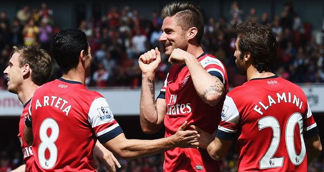 Olivier Giroud: Celebrates his goal for Arsenal