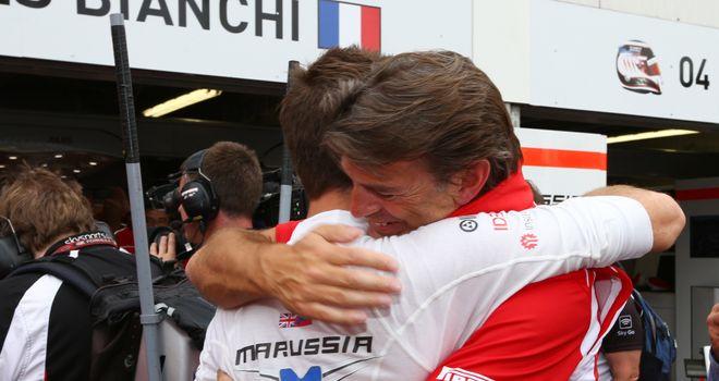 Jules Bianchi celebrates with Graeme Lowdon