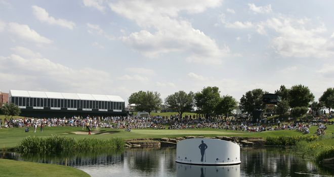The 17th green at TPC Las Colinas