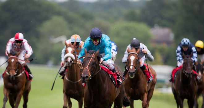 Brown Panther goes clear to score at Sandown.