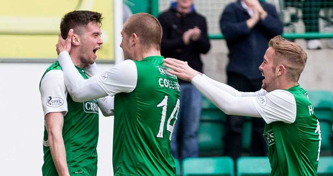 Sam Stanton: Celebrates vital equaliser for Hibs at Easter Road