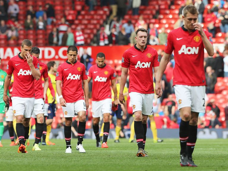 Phil Jones: Trudges off with Manchester United team-mates after defeat