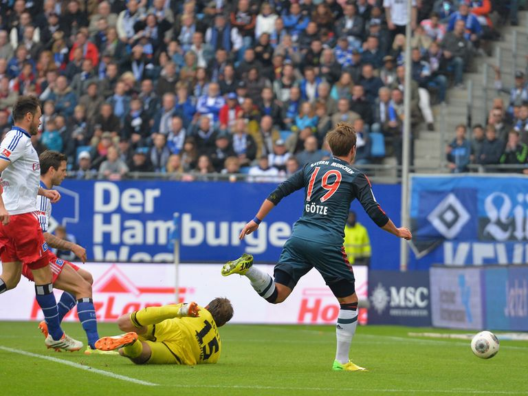 Mario Gotze opens the scoring for Bayern Munich at Hamburg