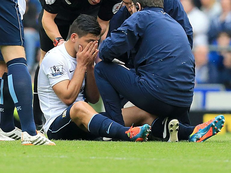Sergio Aguero: Suffered a groin injury on Saturday at Everton