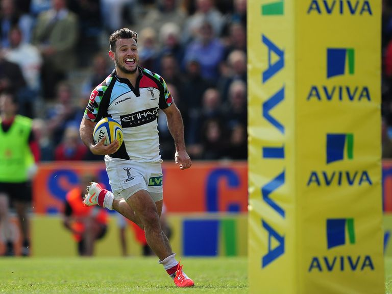 A delighted Danny Care of Harlequins runs in to score his side's third try against Exeter