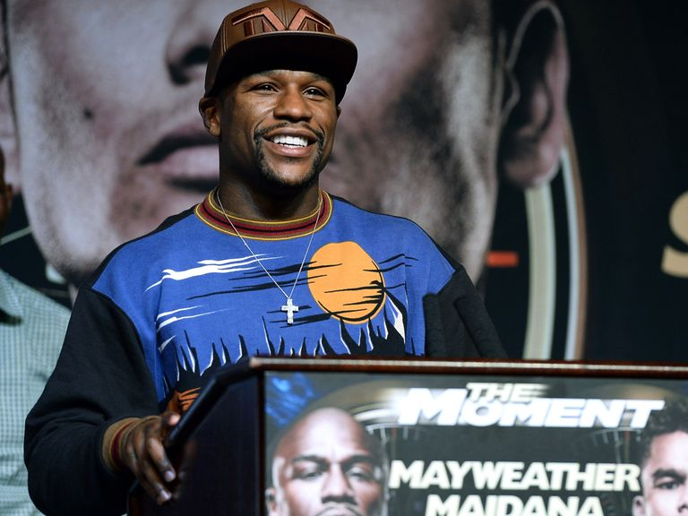 Floyd Mayweather Jr. speaks at the MGM Grand Hotel