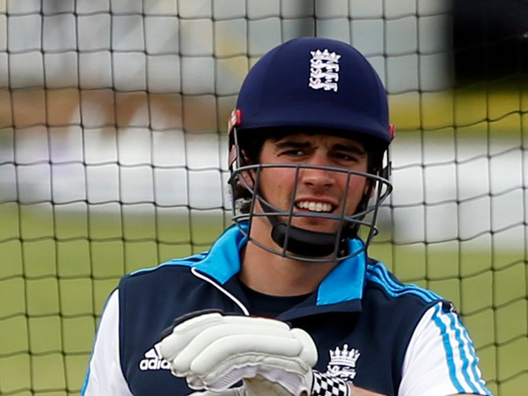 England captain Alastair Cook during a training session at Mannofield Cricket Ground