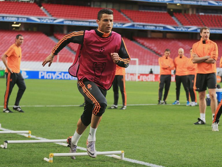Cristiano Ronaldo during the training session in Lisbon