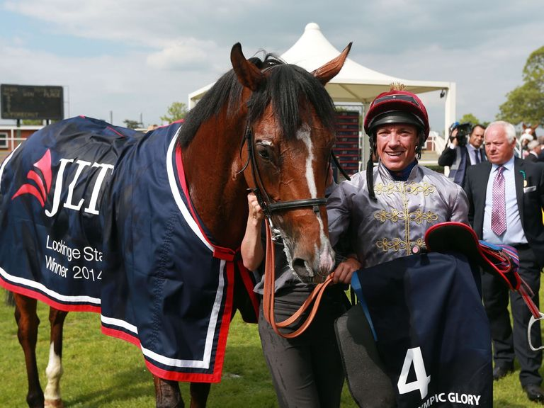 Frankie Dettori celebrates his victory on Olympic Glory in the JLT Lockinge Stakes