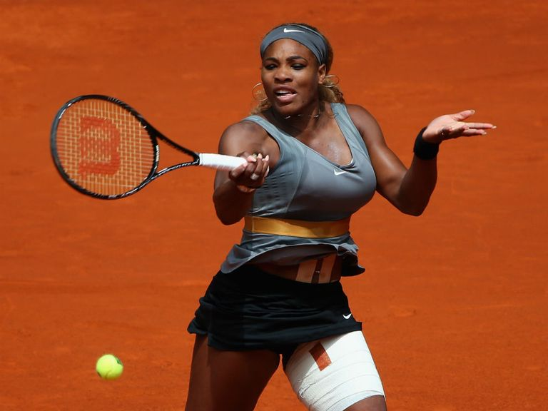 Serena Williams' thigh has been heavily strapped this week in Madrid