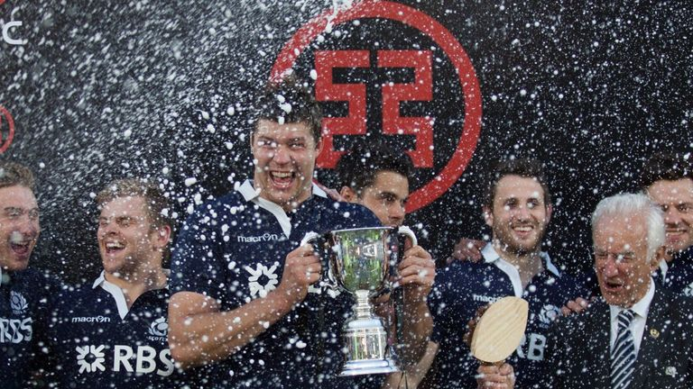 Grant Gilchrist and his Scotland team-mates celebrate victory in Cordoba
