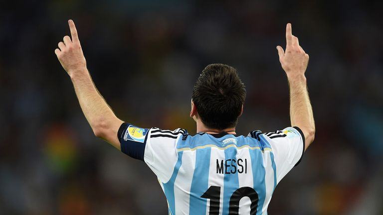 Lionel Messi celebrates his goal against Bosnia