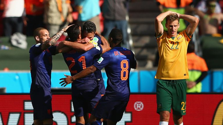 World Cup celebrations for Memphis Depay after scoring against Australia